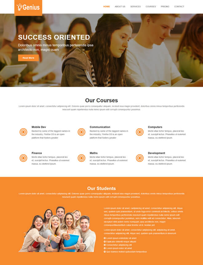 School College University Academic Free Online Education Website - Education website templates