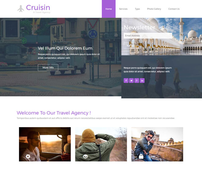 cruisin travel website html5 bootstrap template