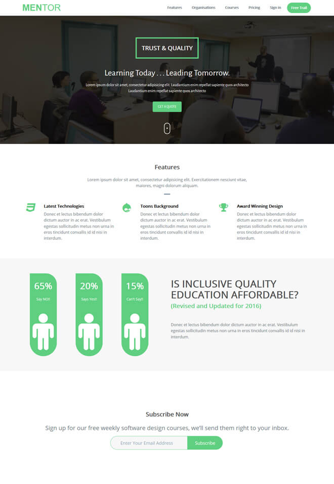 Mentor - free online education website template