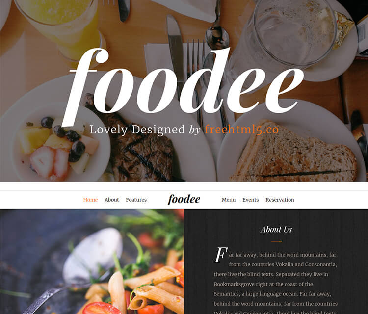 free bootstrap template for restaurant website online ordering