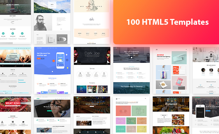 100 html5 free template bundle offer from themewagon