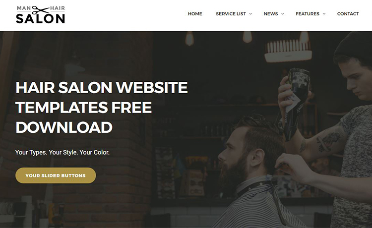 free download html5 css3 website template for men s hair salon sites
