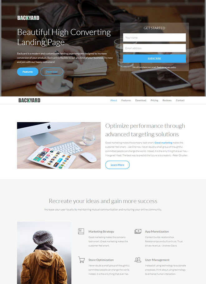 20 free html landing page templates built with html5 and bootstrap 3