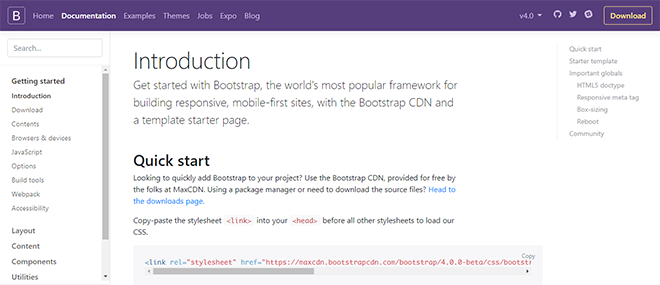 Bootstrap 4 features