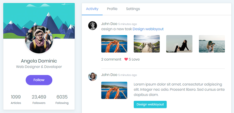 Bootstrap profile template example | design bootstrap.