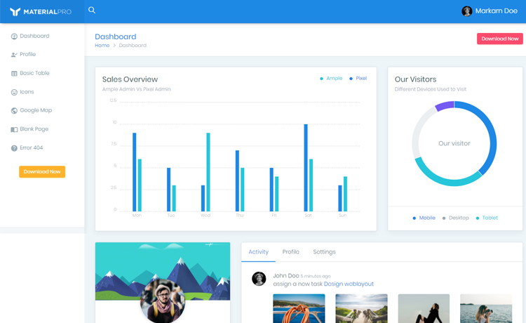 bootstrap 4 responsive admin template download from themewagon