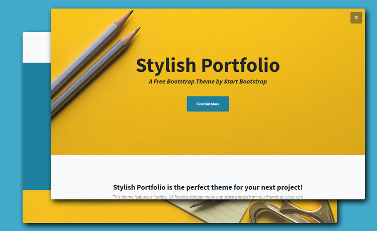 live preview stylish portfolio is a one page free bootstrap 4 portfolio template