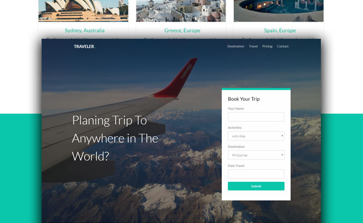 free bootstrap travel agency website template