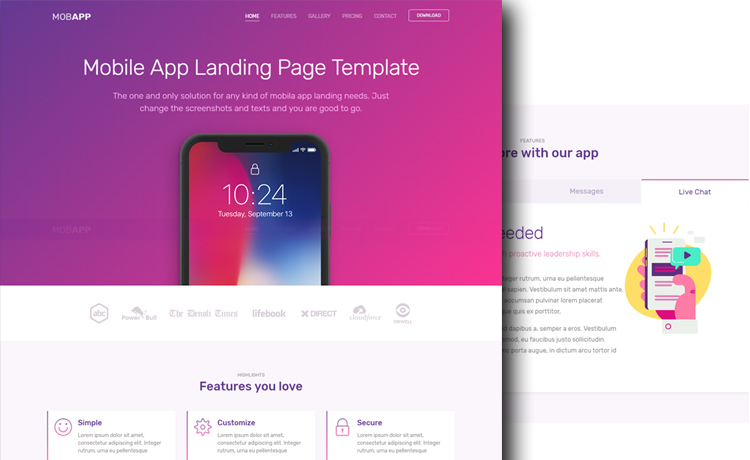 Creative Free Bootstrap App Landing Page Template With Vivid Colors - Bootstrap landing page template