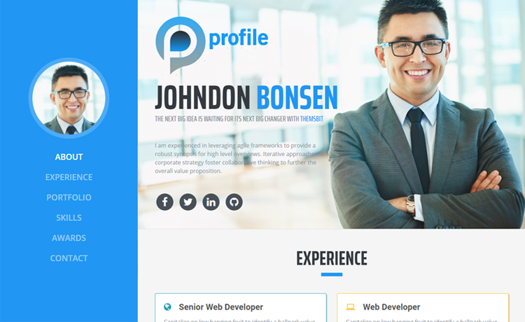 Profile - Bootstrap HTML5 Portfolio Website Template With Static Sidebar
