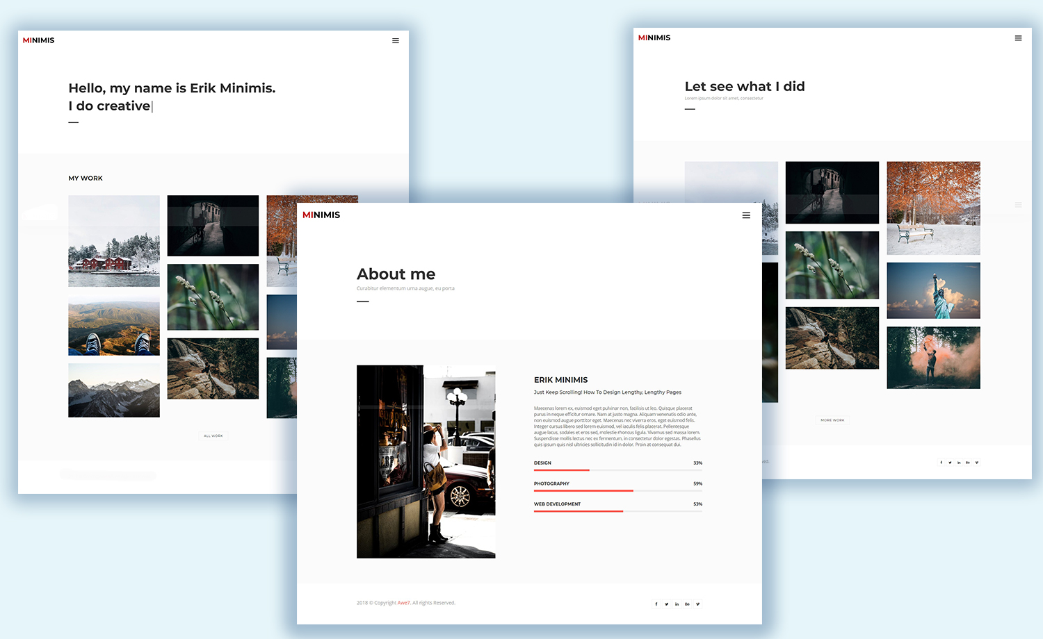 free responsive personal portfolio template with multi page
