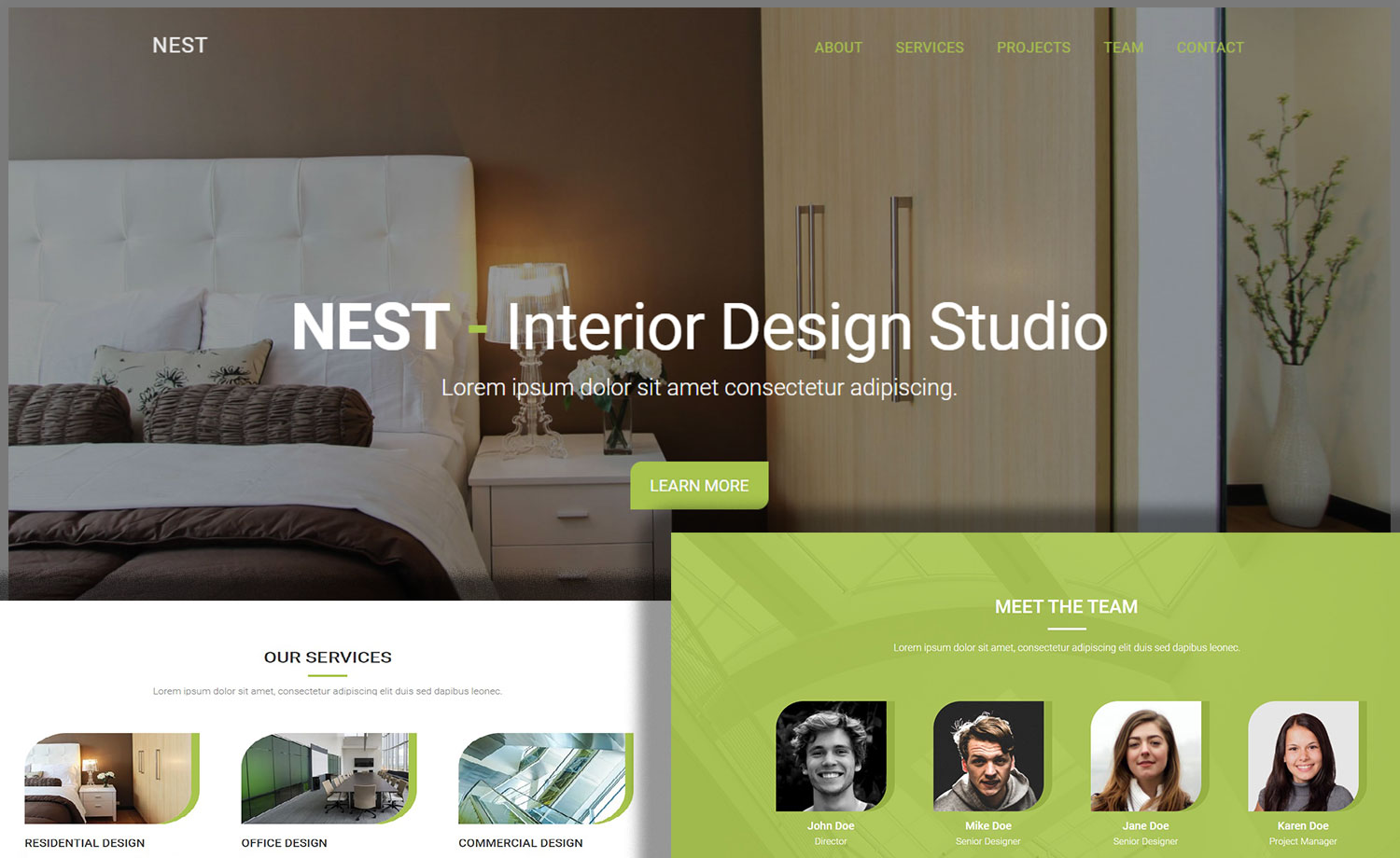 Free One Page Interior Design HTML5 Website Template