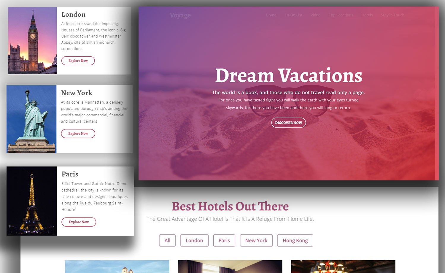 one page responsive free html5 tourism website template with