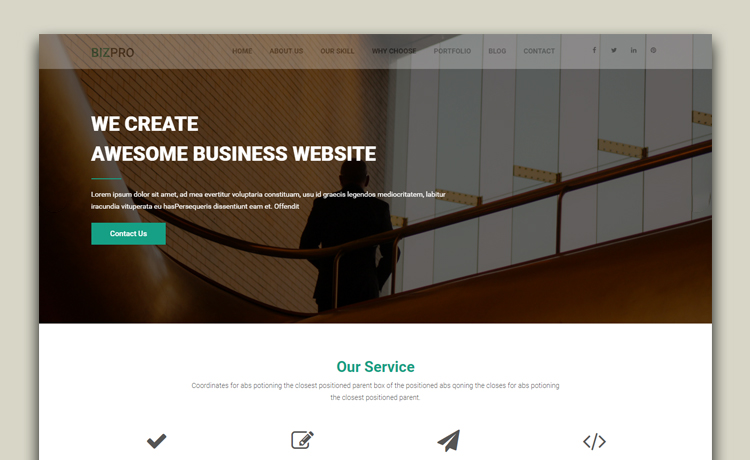 Bizpro one page free business website template powered with modern free business website template wajeb