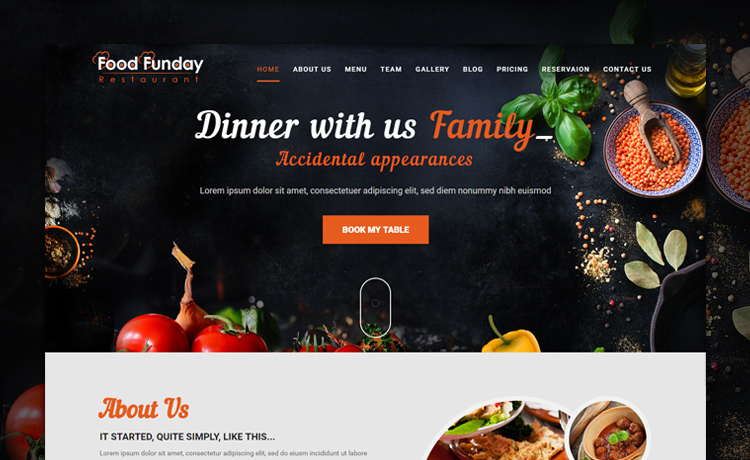 Food funday free bootstrap restaurant template with reservation form free bootstrap restaurant template maxwellsz