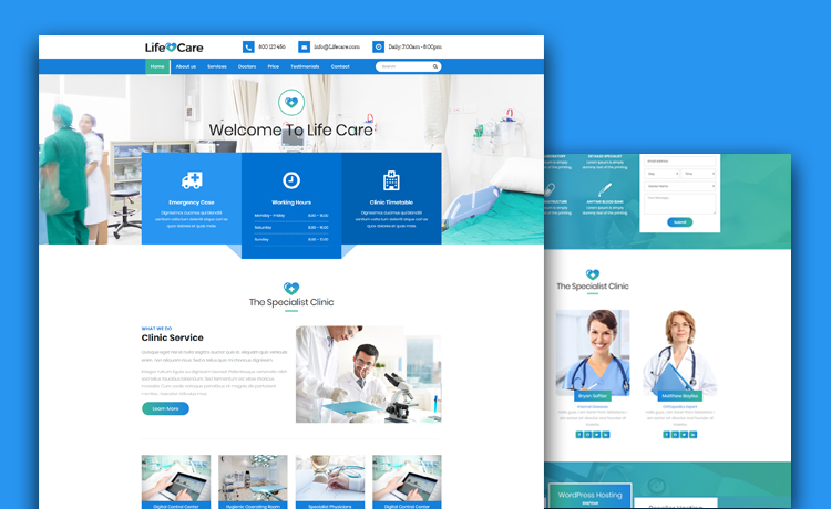 life care free medical website template for hospitals clinics