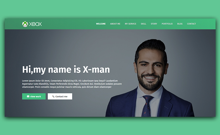 X Man Free Personal Website Template For Crafting Cv Resume And