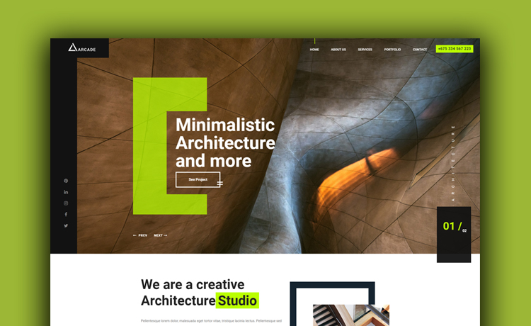 free architecture responsive website template