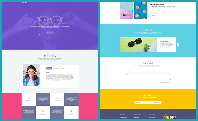 free personal bootstrap template colorful and attractive one page