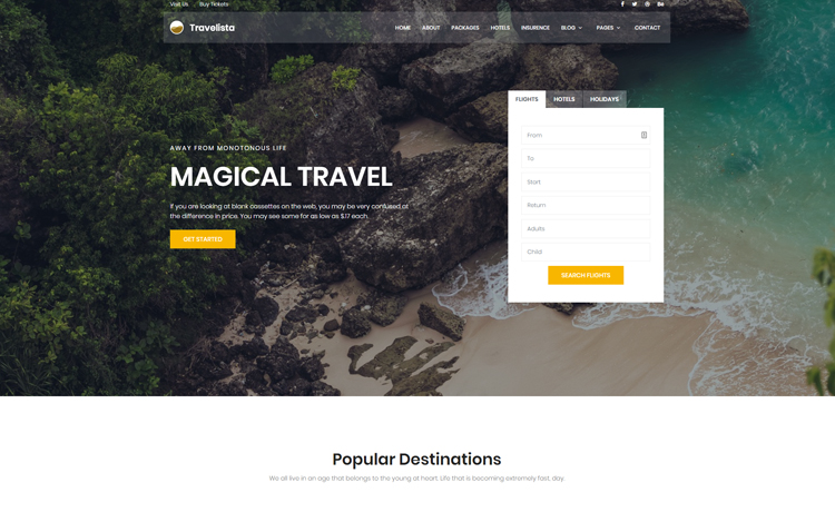 Bootstrap 4 And Html5 Free Travel Booking Website Template
