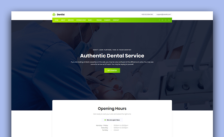 free bootstrap medical template for dentists with an effortless