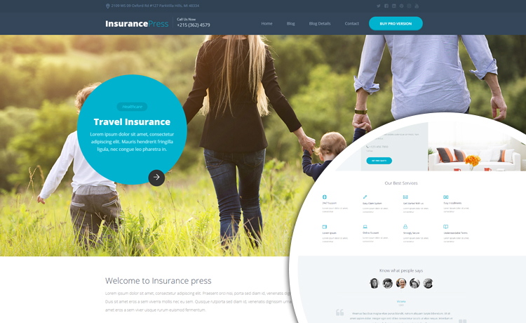 insurance bootstrap free template  Clean and Well-designed Free HTML5 Insurance Template Built With ...