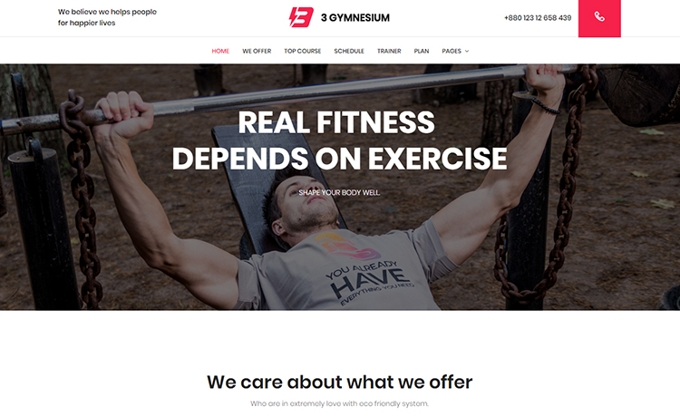 free responsive fitness website template
