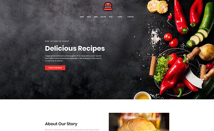free responsive restaurant template