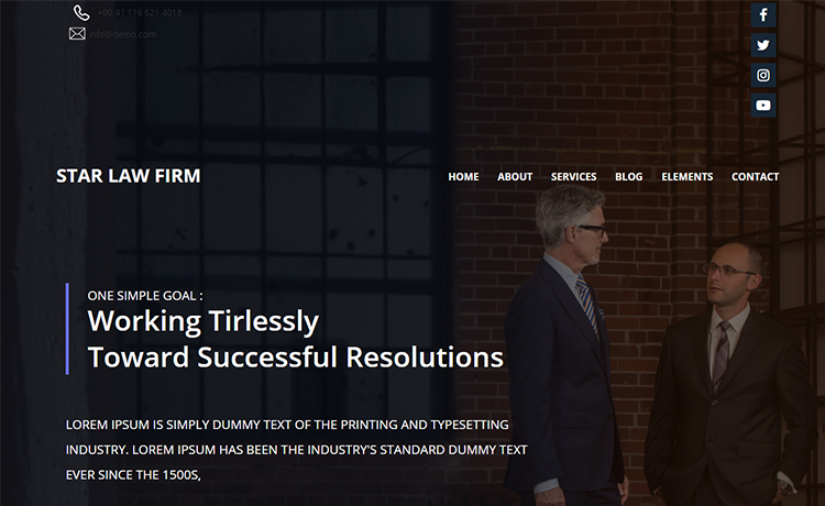 free html5 bootstrap multi page responsive law firm website template