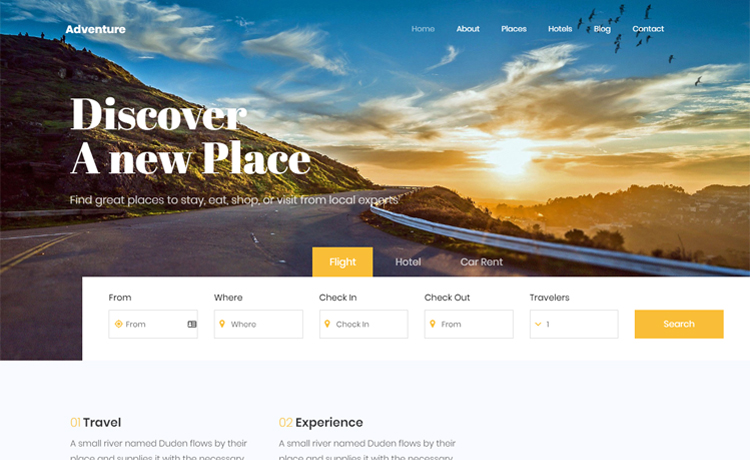 Adventure 2 - Free Bootstrap 4 HTML5 travel agency website template