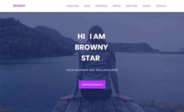 Browny Free Html5 Personal Portfolio Website Template For Showcasing