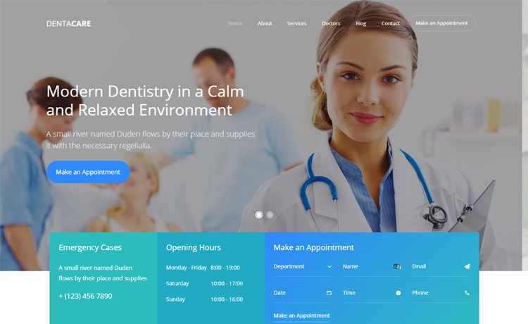 free Bootstrap dental website template