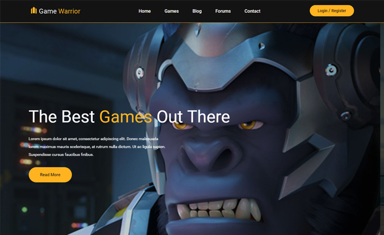 Game warrior-Free Bootstrap 4 HTML5 gaming website template
