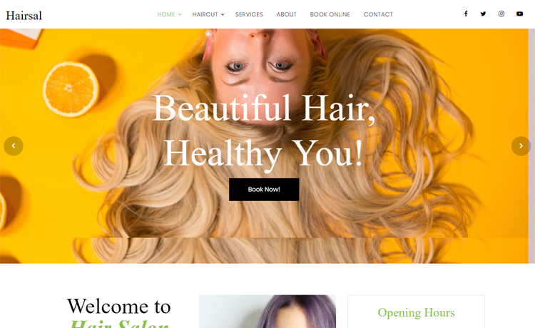 Free Bootstrap 4 HTML5 hair salon website template