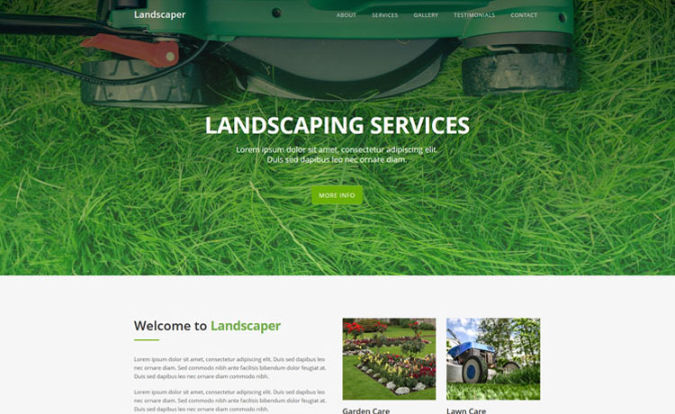 free Bootstrap HTML5 one-page gardening landscaping website template