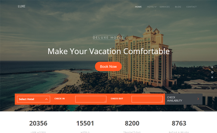Free HTML5 Bootstrap hotel resort website template