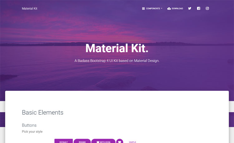 Free Bootstrap 4 UI Kit template based on material design