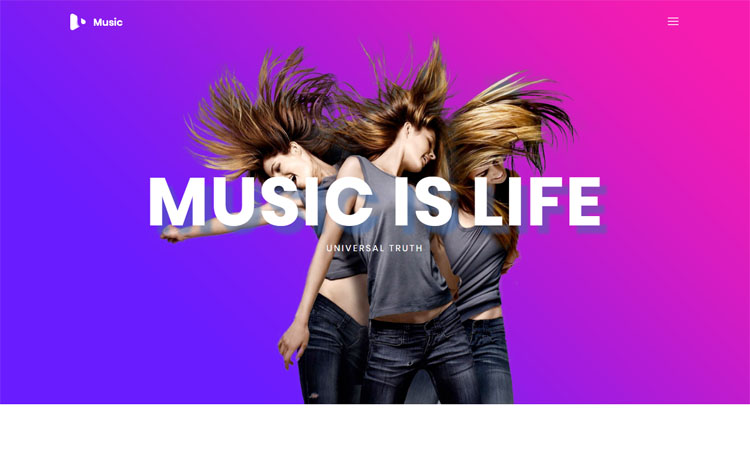 Music is a free Bootstrap HTML5 music website template