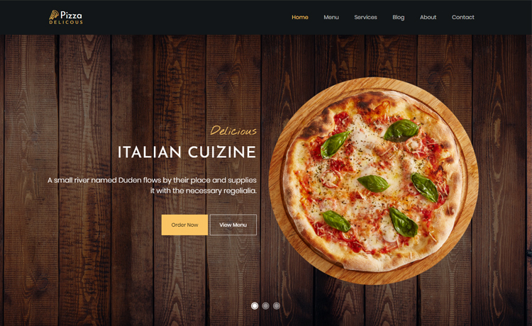 free Bootstrap pizza restaurant website template