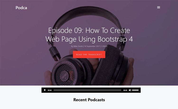 Free Bootstrap 4 HTML5 podcast website template