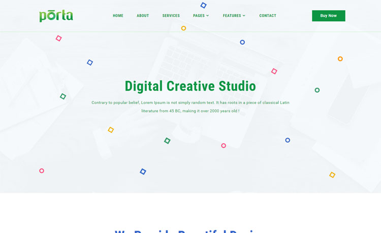 Porta is a free bootstrap 4 HTML5 personal portfolio website template