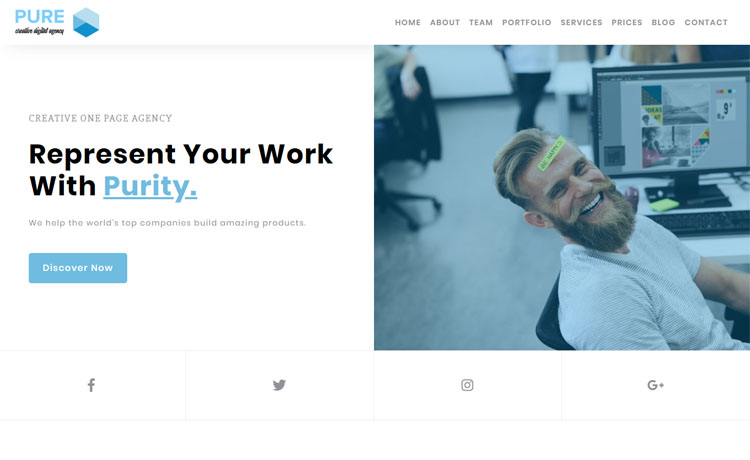 Free Bootstrap 4 HTML5 one-page agency website template