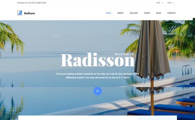 Radisson-Free Bootstrap 4 HTML5 hotel resort website template