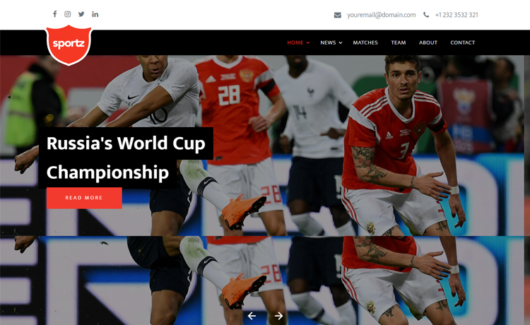 free bootstrap soccer website template