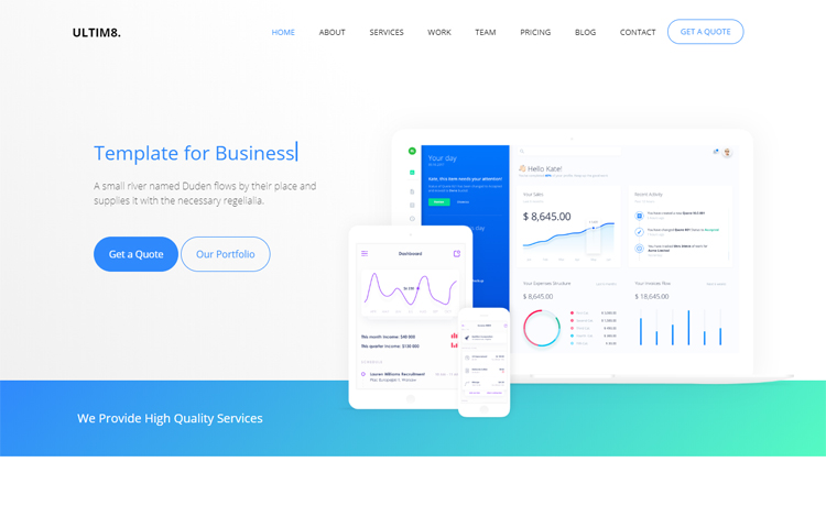 Ultim8-Free Bootstrap 4 HTML5 business website template