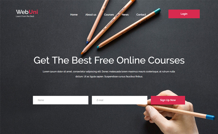 Webuni - Free Bootstrap 4 HTML5 online course education website template