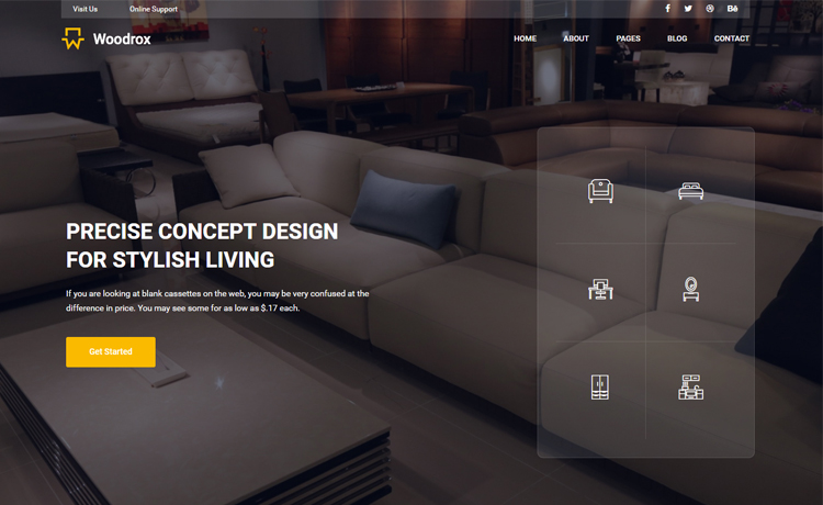 Free Bootstrap 4 HTML5 interior designing agency website template