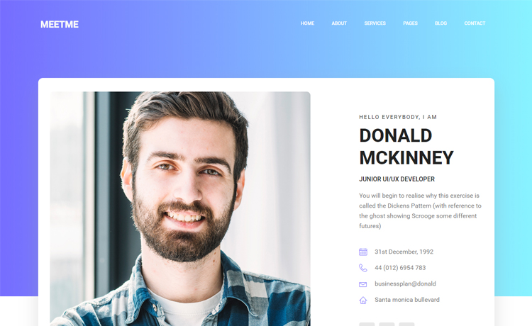 Free HTML5 Bootstrap Personal Portfolio Website Template