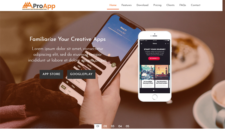 Free Bootstrap 4 HTML5 one-page app landing page template