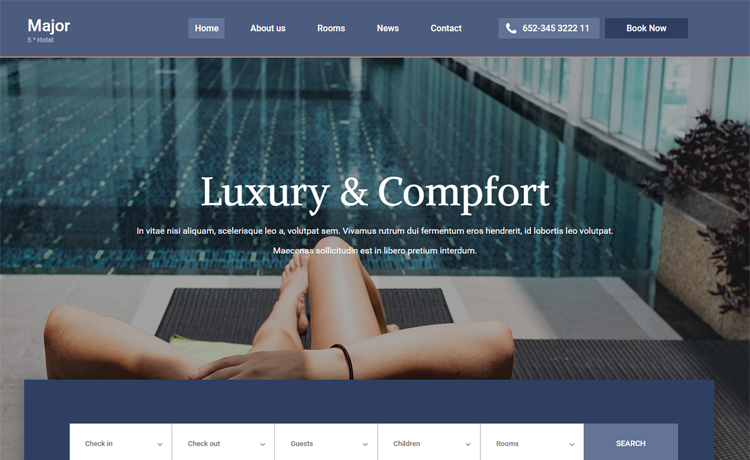 Major-Free Bootstrap 4 HTML5 hotel website template